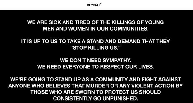 Beyoncé em carta aberta publicada em seu site (Foto: Reprodução/beyonce.com)