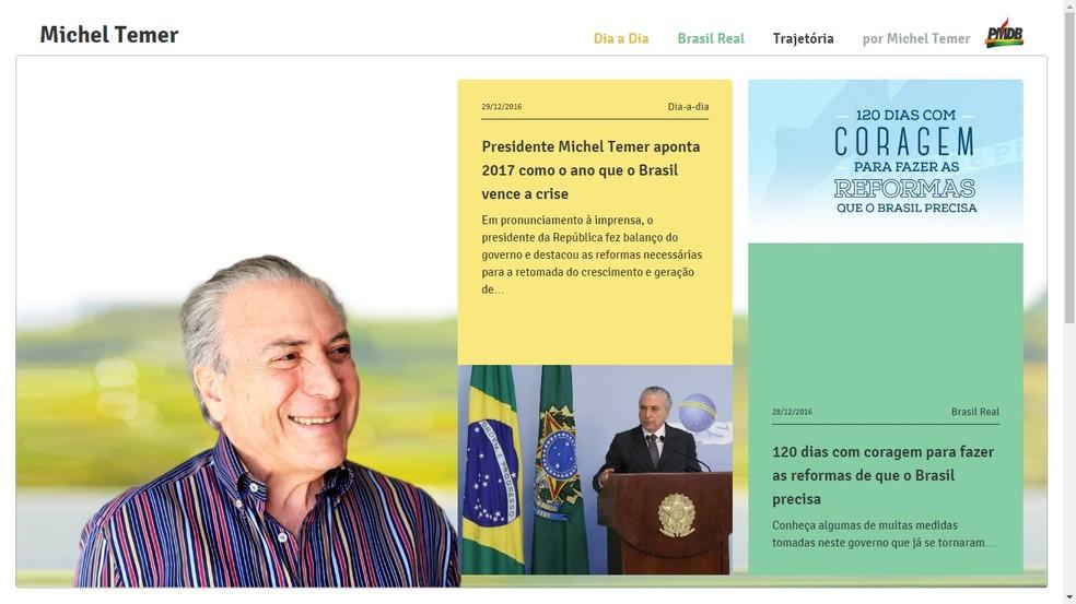 Página normal do site do PMDB sobre Michel Temer (Foto: reprodução/www.micheltemer.com.br)