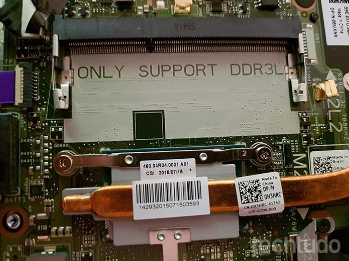 """""""Only support DDR3L"""" refere-se à compatibilidade restrita a pentes de memória DDR3L, chamados de DDR3 de baixa energia, ou baixa voltagem (Foto: Filipe Garrett/TechTudo)"""