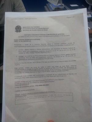 Certidão negativa do CSA (Foto: Divulgação CSA)