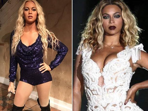 Beyoncé em estátua e a cantora (Foto: Reprodução/ Instagram)