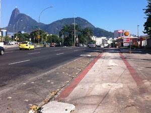 Ciclovia na chegada da Praia de Botafogo. (Foto: Mariucha Machado/G1)
