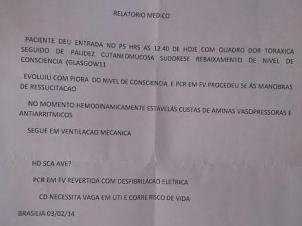 Relatório médico do paciente Eduardo Leite de Castro, que está internado no Hospital Regional de Sobradinho, no DF (Foto: Reprodução)