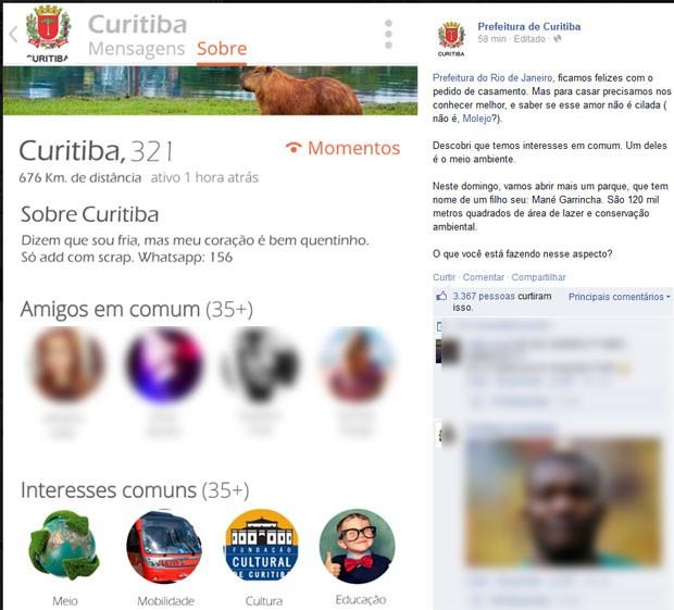 Curitiba respondeu fazendo 'charme' (Foto: Reprodução / Facebook)