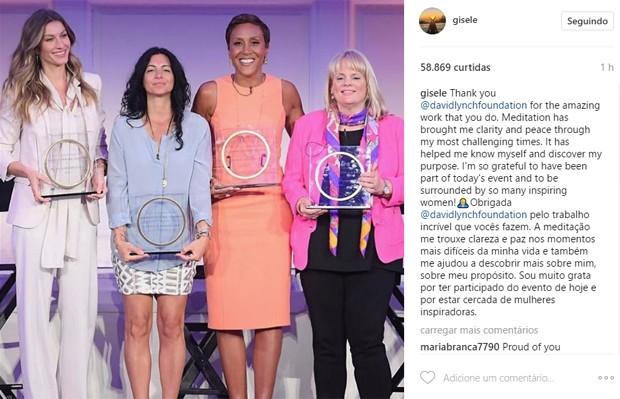 Gisele Bündchen (esq) foi uma das homenageadas pela David Lynch Foundation. (Foto: Reprodução/Instagram)