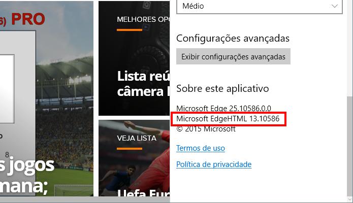 Veja se o Edge HTML está na versão correta (Foto: Reprodução/Paulo Alves)