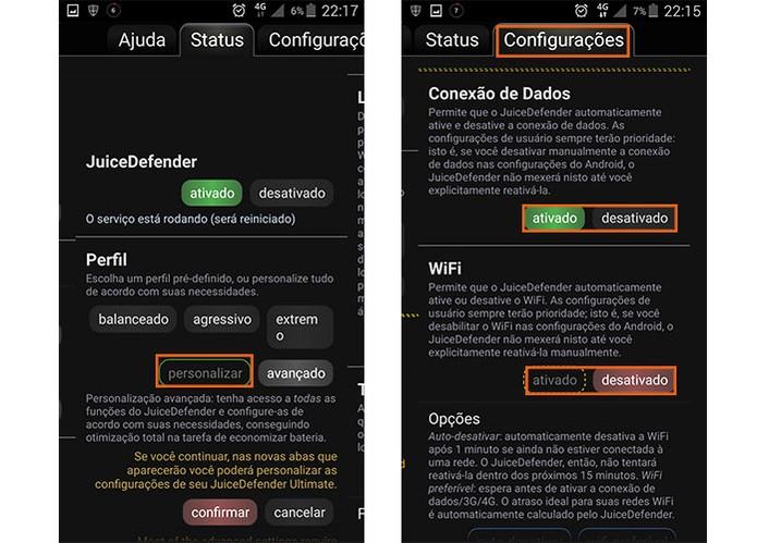 O modo personalizado permite que o usuário ajuste as configurações de economia (Foto: Reprodução/Barbara Mannara)