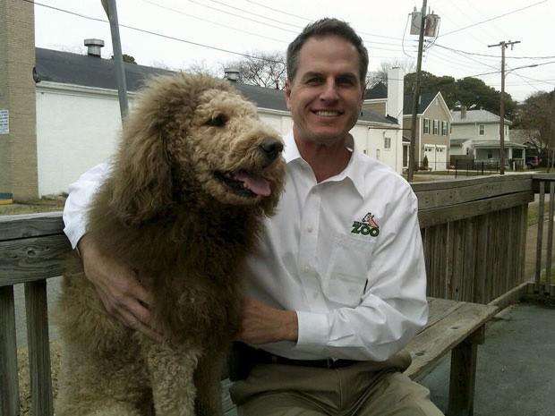 Charles, o 'cão-leão', ao lado de Fran, funcionário do zoológico (Foto: Zoológico da Virgínia/AP)