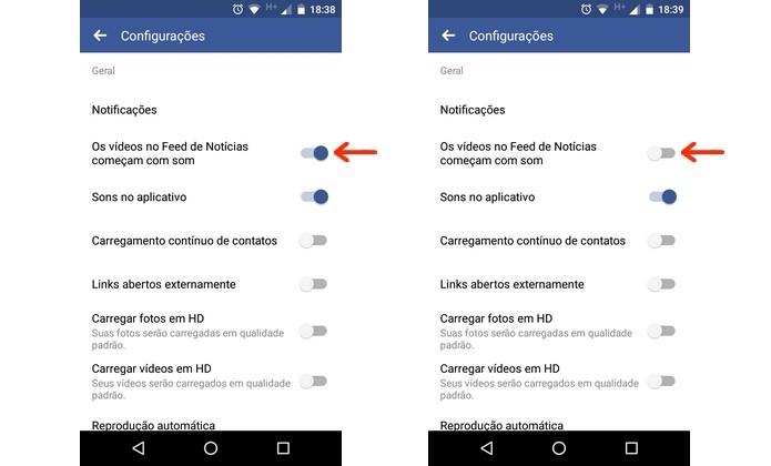 Desativação do som automático nos vídeos do Facebook para Android (Foto: Reprodução/Raquel Freire)