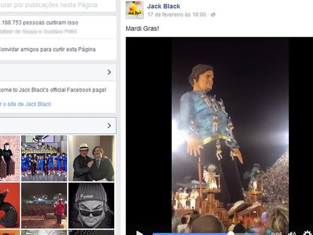 Ator Jack Black postou imagem de carro alegórico com boneco gigante feito com base em sua imagem (Foto: Reprodução/ Facebook)