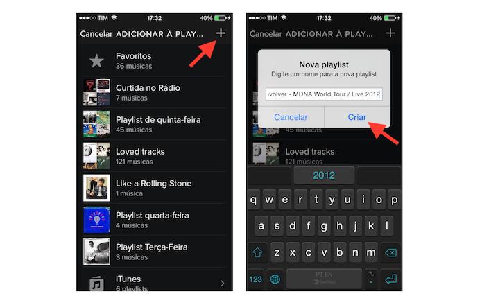 Criando uma playlist para adicionar uma música do Spotify no celular (Foto: Reprodução/Marvin Costa)