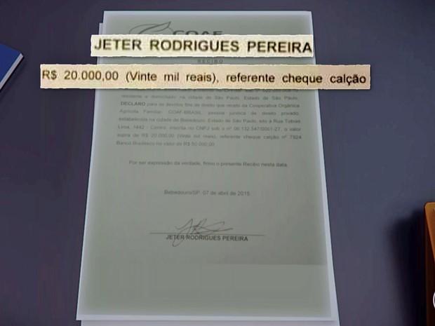 Recibo mostra pagamento a Jéder Pereira no valor de R$ 20 mil (Foto: TV Globo/Reprodução)