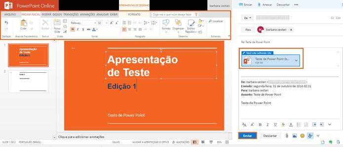 Edite o conteúdo da apresentação do PowerPoint pelo Outlook (Foto: Reprodução/Barbara Mannara)