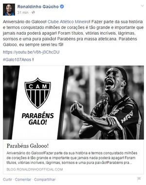 Ronaldinho parabeniza o Atlético-MG pelo aniversário (Foto: Reprodução/ Facebook)