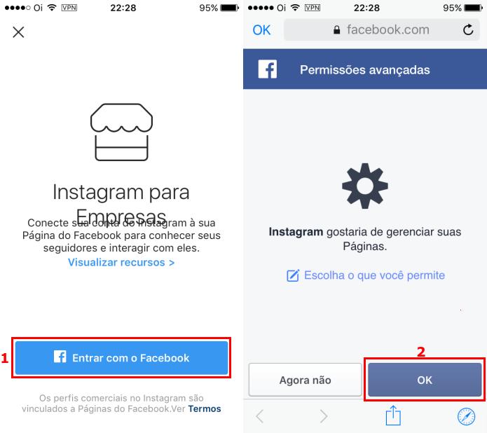 Conectando a conta Instagram ao Facebook (Foto: Reprodução/Edivaldo Brito)