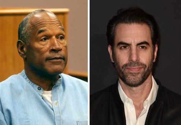 O ex-jogador de futebol americano O.J. Simpson e o ator Sacha Baron Cohen (Foto: Getty Images)