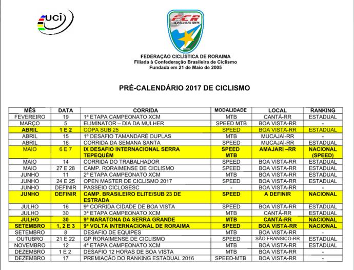 Calendario 2017 da FCR com 21 competições, entre nacionais e internacionais (Foto: Reprodução/GloboEsporte.com)