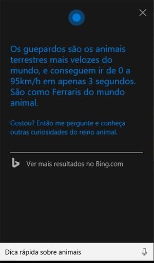 Cortana pode fornecer informações sobre clima, trânsito... ou só mandar uma pensata curiosa mesmo (Foto: Divulgação/Microsoft)