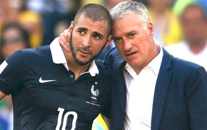 Benzema e Didier Deschamps França e Alemanha Maracanã (Foto: Agência Reuters)