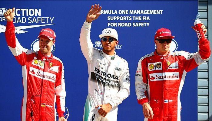 Lewis Hamilton Kimi Raikkonen Sebastian Vettel Monza