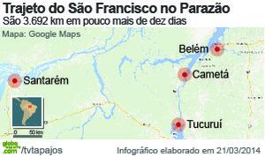 Gráfico distância São Francisco Parazão (Foto: Arte/Globoesporte.com)