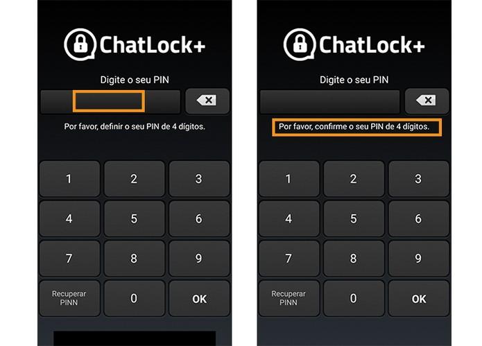 Escolha uma senha para o app WhatsApp Lock (Foto: Reprodução/Barbara Mannara)
