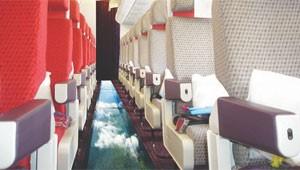 Aeronave da Virgin com chão de vidro (Foto: Reprodução)