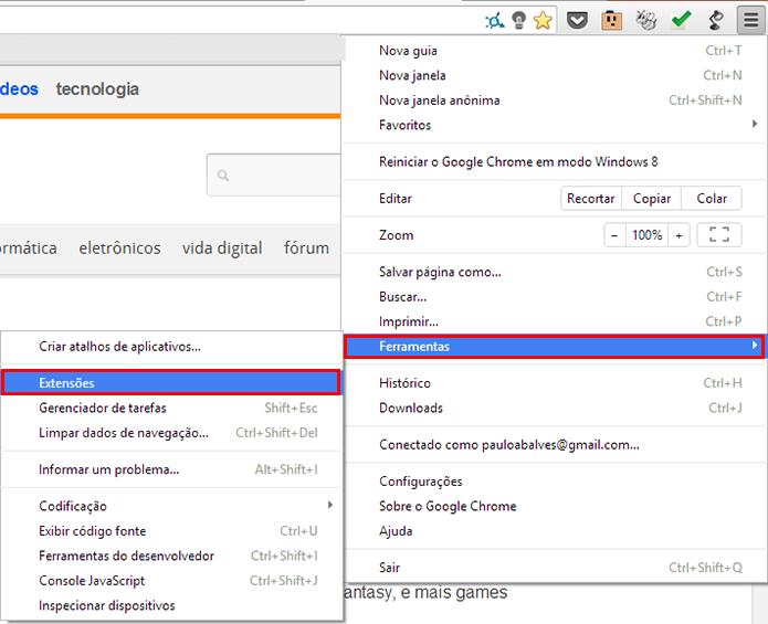 Acesse as extensões do Chrome (Foto: Reprodução/Paulo Alves) (Foto: Acesse as extensões do Chrome (Foto: Reprodução/Paulo Alves))