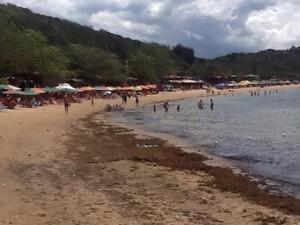 Mancha chegou até a areia na Praia da Tartaruga nesta segunda (Foto: Victor Viana)