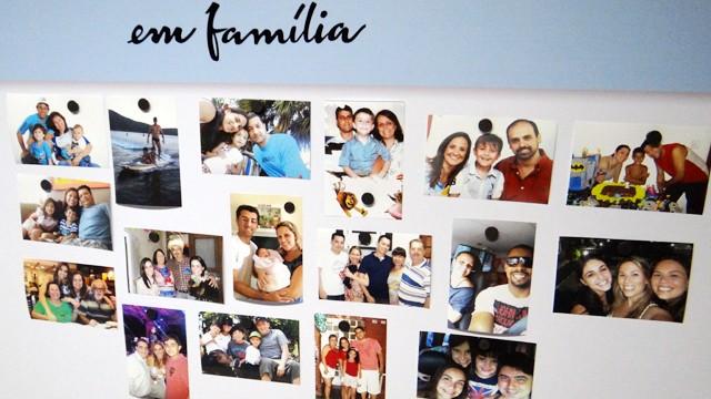 Mural 'Em Família' dos funcionários da TV Tribuna (Foto: Priscila Martinez)