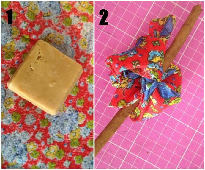 Apenas dois passos são precisos para fazer as trouxinhas de rapadura (Foto: Arquivo Pessoal)
