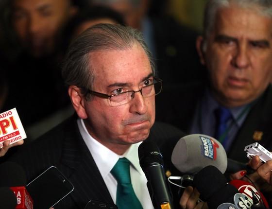 Eduardo Cunha durante coletiva para anunciar sua renuncia (Foto: Alan Marques/Folhapress)