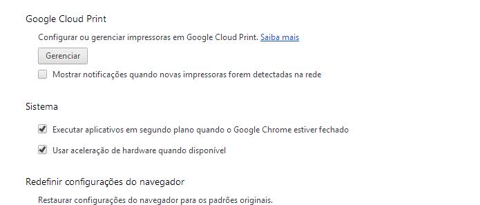 Acessando a opção Gerenciar do Google Cloud Print (Foto: Reprodução/Edivaldo Brito)