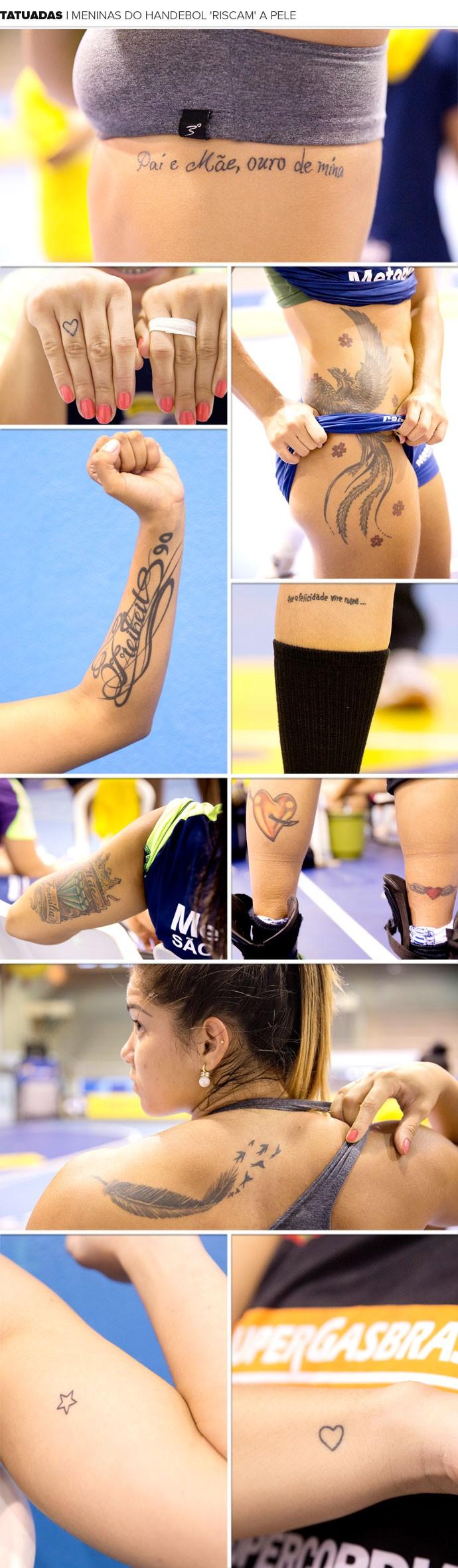 Mosaico Meninas Tatuadas Handebol (Foto: Cinara Piccolo / Photo&Grafia)