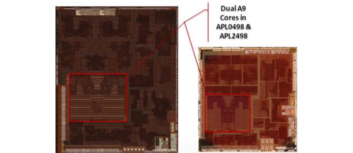 A imagem mostra o interior dos processadores A5 dos iPad 2: à esquerda, a versão de 45 nanômetros, à direita, a de 32 nm (Foto: Reprodução/Chipworks)