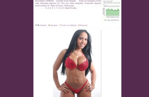Foto de Mulher Melão e usada em site prostituição espanhol (Foto: Reprodução/Internet)