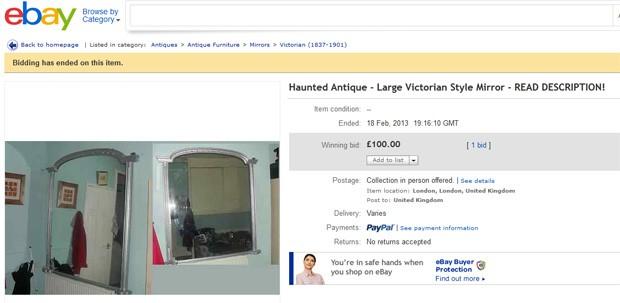 Apesar de todas as observações sobre a 'maldição do espelho', objeto foi arrematado (Foto: Reprodução)