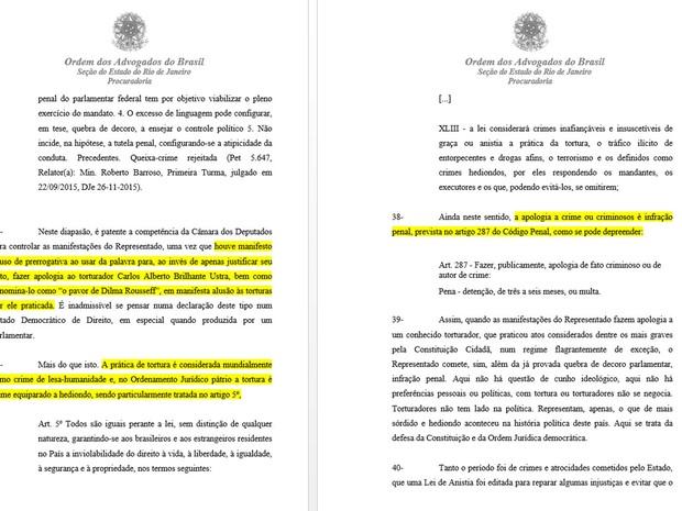 OAB acusa Bolsonaro de fazer apologia ao crime (Foto: Reprodução)