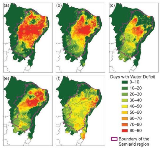 Mapas mostrando deficiência de água, em dias, no Nordeste do Brasil em cada ano hidrológico (outubro a setembro). O primeiro mapa (a) representa o período de 2011-2012, o segundo (b), o de 2012-2013, assim sucessivamente até o mapa (e) representar 2015-16 (Foto:  State of the Climate in 2016)