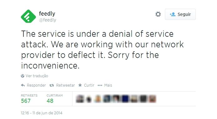 Feedly usou Twitter para aleertar usuários sobre problema nesta quarta (Foto: Reprodução/Twitter)