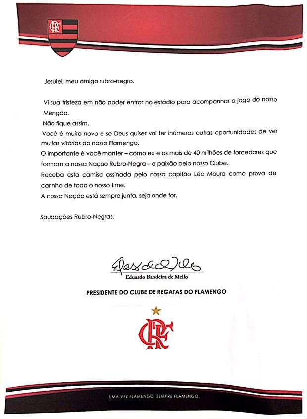 Carta enviada pelo presidente do Flamengo ao garoto Jesulei Dias