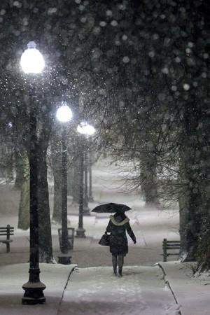 Mulher tenta se proteger da neve com um guarda-chuva em um parque de Boston na noite desta terça-feira (21). (Foto: Steven Senne/AP)
