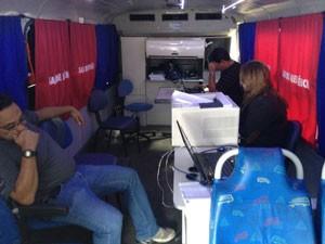 Delegacia móvel é instalada no Arpoador para atender eventuais vítimas de furtos e roubos (Foto: Daniel Silveira/G1 Rio)