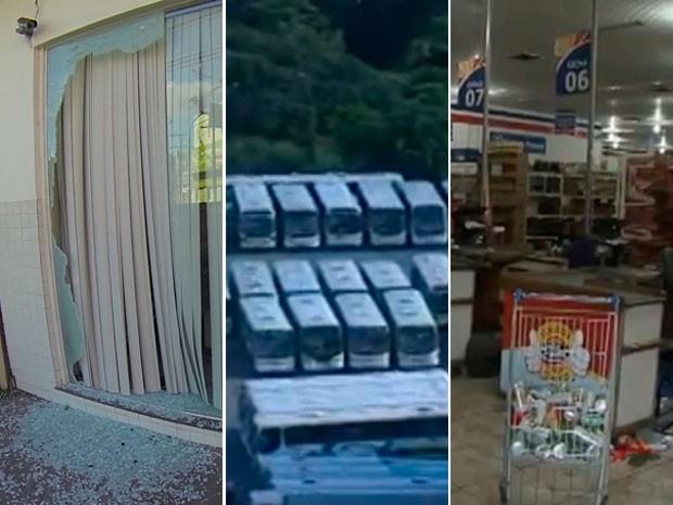 Serviços em Salvador foram afetados e agência bancária arrombada (Foto: Imagens/TV Bahia)