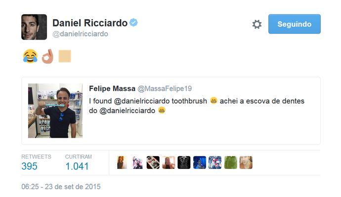 Daniel Ricciardo ri de brincadeira de Felipe Massa no twitter (Foto: Reprodução/Twitter)