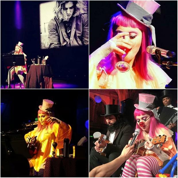 Madonna se apresenta em show na Austrália: a cantora fez uma homenagem ao filho Rocco e, por várias vezes, foi fotografada bebendo no palco (Foto: Reprodução/Instagram)