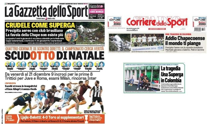 Jonais italianos estampam a tragédia da Chapecoense (Foto: Reprodução)