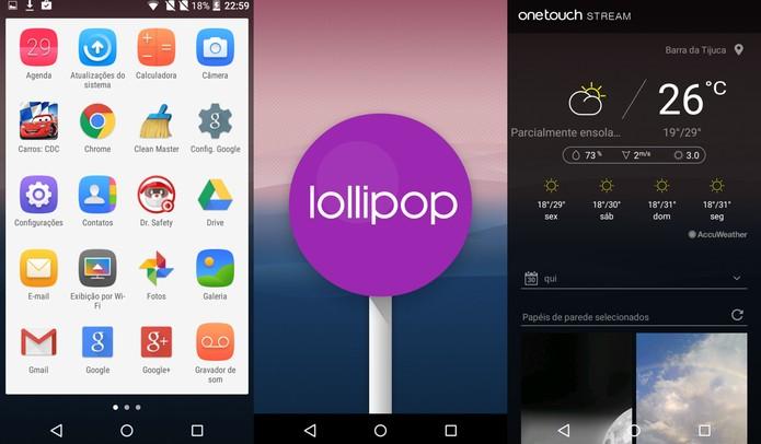 Android Lollipop do Idol 3 tem modificações feitas pela Alcatel (Foto: Reprodução/Caio Bersot)