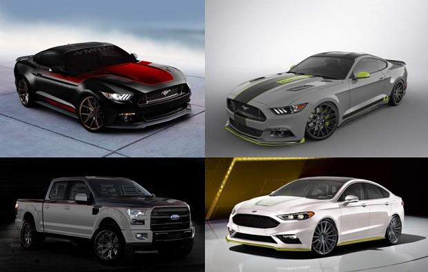 Modelos modificados do Ford Mustang, Fusion e F-150 para o SEMA Show (Foto: Divulgação)