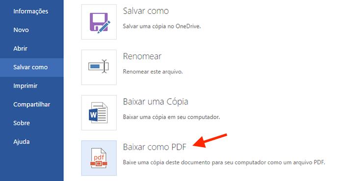 Acessando a opção para salvar arquivos do Word Online em PDF (Foto: Reprodução/Marvin Costa)